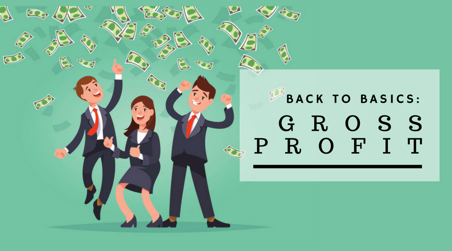 graphic of gross profit, happy business people celebrate their victory, vector illustration