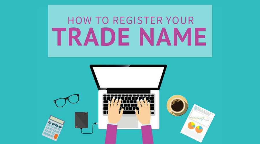 person registering trade name on computer