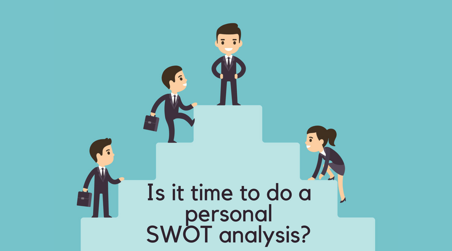 graphic of personal swot analysis, illustration of people climbing on stairs