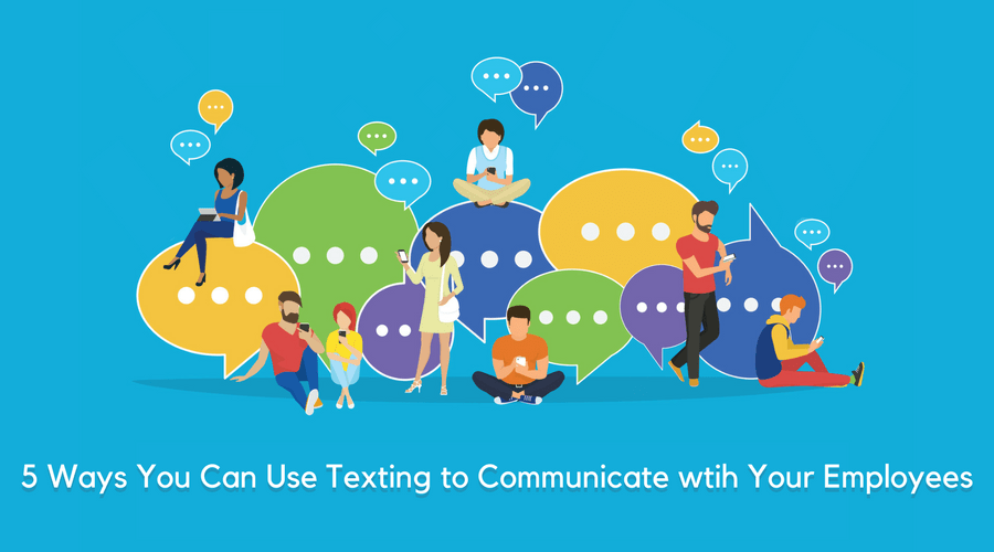 illustration of people texting surrounded by speech bubbles