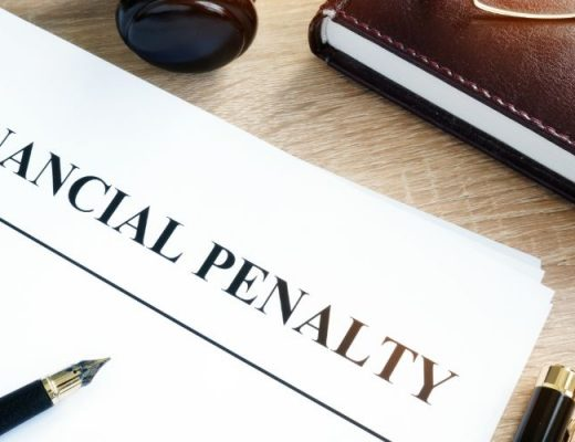 """financial penalty"" written on paper"