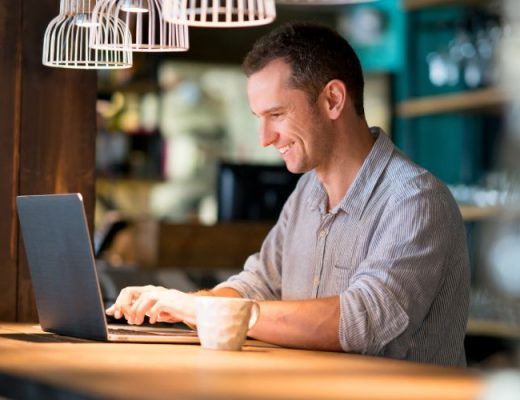 man reviewing information online using Workful's document warehouse software